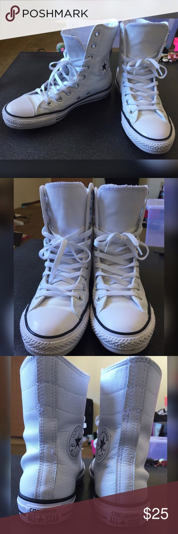 White Leather Converse Size 7.5 used but still in great condition, no damage! Converse Shoes Lace Up Boots
