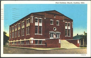 Cushing Oklahoma OK 1926 First Christian Church Vintage Postcard