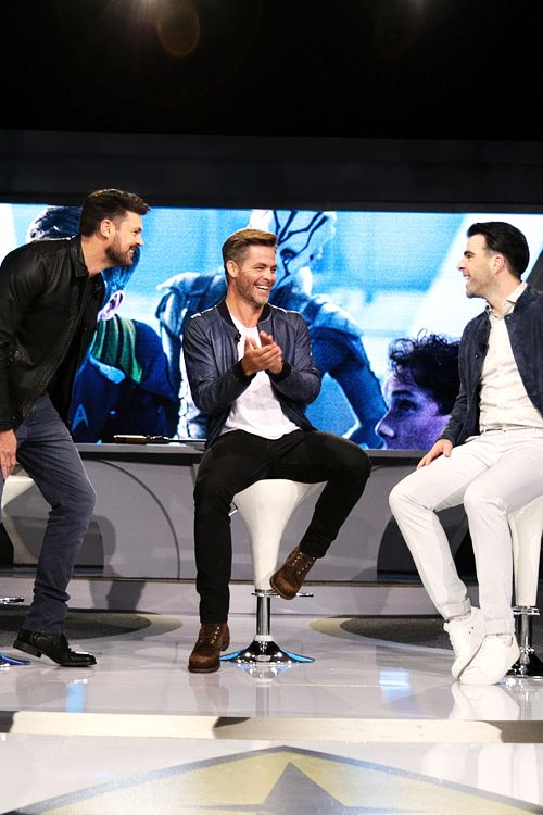 Karl Urban, Chris Pine, and Zachary Quinto attend the Star Trek Beyond Fan Event at Paramount Pictures Studios on May 20, 2016 in Hollywood, California.