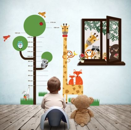 Animal Friends Window View & Measurement Combo ~ This amazing Measurement Sticker and Animal Friends Window View combo is sure to brighten up your kid's room.  Stick it on the wall and check how fast your child grows !      ◦ This product can be attached directly to the walls, window, screens and etc. ◦ It is self-adhesive, water & steam resistant  ◦ Easy to remove ◦ Reusable (you can use it few times) and flexible ◦ High quality sticker  £29.99