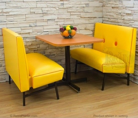 70's Mod kitchen booth set with hot orange trim and atomic orange formica pedestal table.