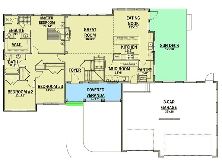 Plan 81629ab single story living with expansion below for Expanded ranch floor plan