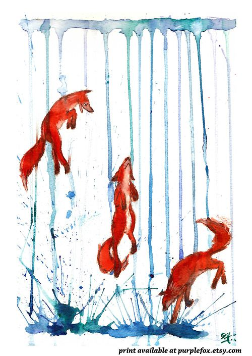 Foxes in the Rain ~ artist PurpleFox