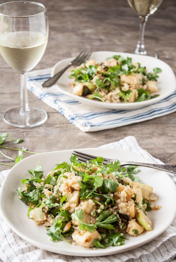 Miso Glazed Turnups & Kohlrabi Quinoa Salad