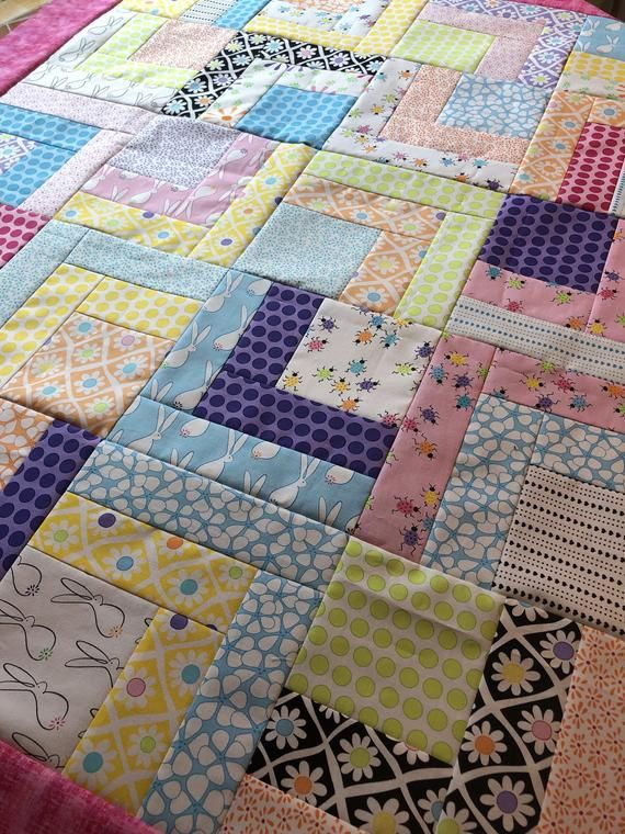 Frolic unfinished quilt top, 50 inch, ready to ship, Moda fabric, patchwork quilt