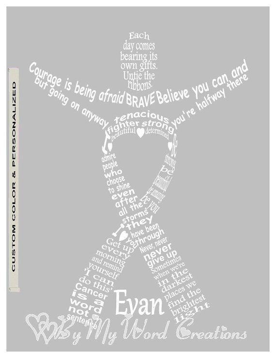 Personalized Cancer Fighter Ribbon Art Cancer by ByMyWordCreations