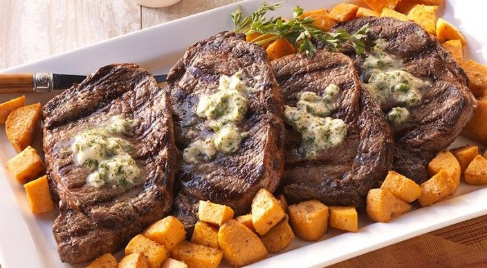 Rib Eyes with Horseradish Butter and Dijon Sweet Potatoes  from Weber—the world's number one authority in grilling. SKIP the potatoes!