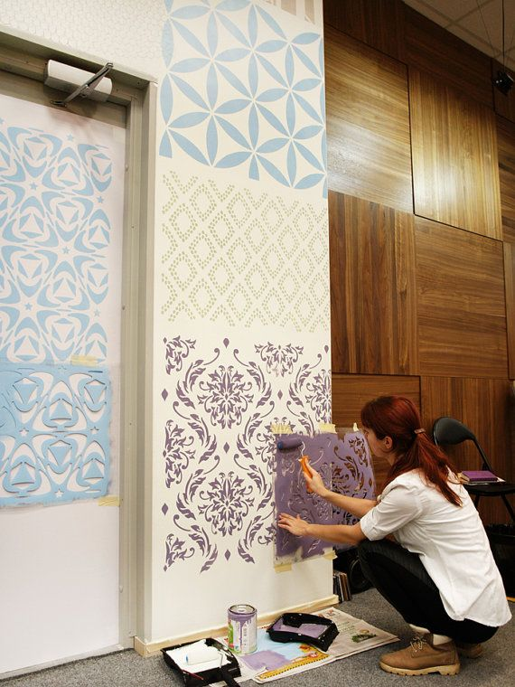 Lily Blooms - Damask wall stencil for DIY projects - Better than wall decals - Chic look - Easy home decor