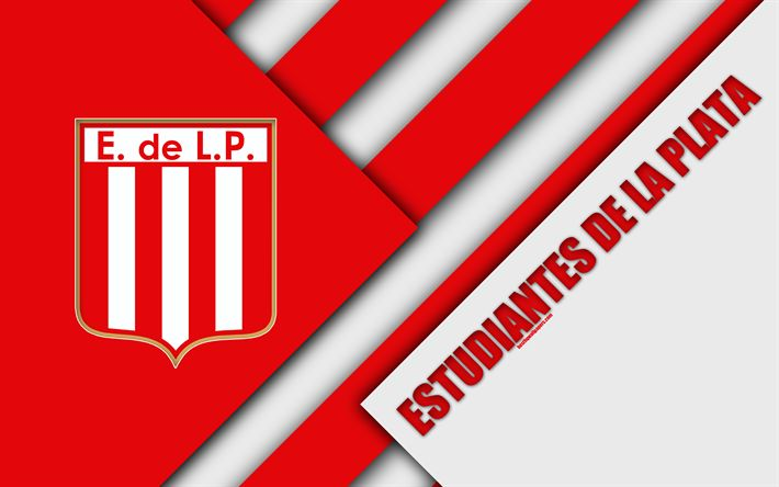 Download wallpapers Estudiantes de La Plata, Argentine football club, 4k, material design, white red abstraction, La Plata, Argentina, football, Argentine Superleague, First Division