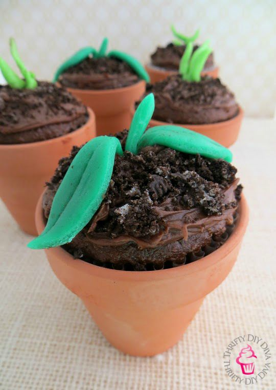 chocolate sprout earth day dirt cupcakes