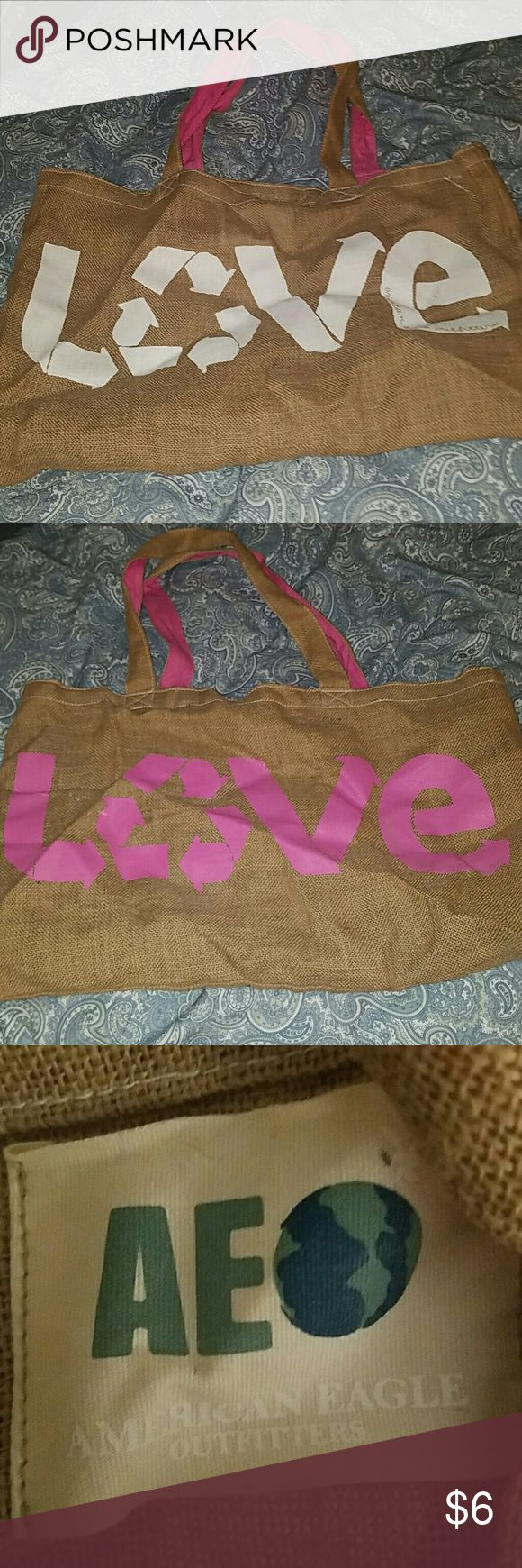 """American Eagle Tote Bag Reusable tote bag. Burlap material. 13x23"""" when laid flat. Different color on each side American Eagle Outfitters Bags Totes"""
