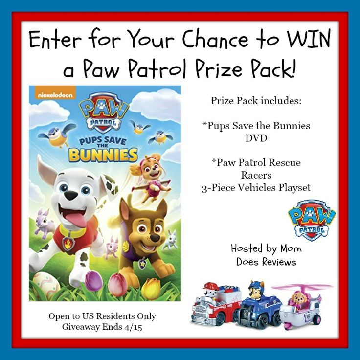 Does your toddler or preschooler love Paw Patrol?  How much fun would it be to have Paw Patrol in their Easter Basket this year?  Enter to win a Paw Patrol Prize Pack that includes a very fun DVD and a 3 Pack of Paw Patrol Rescue Vehicles! You will be...