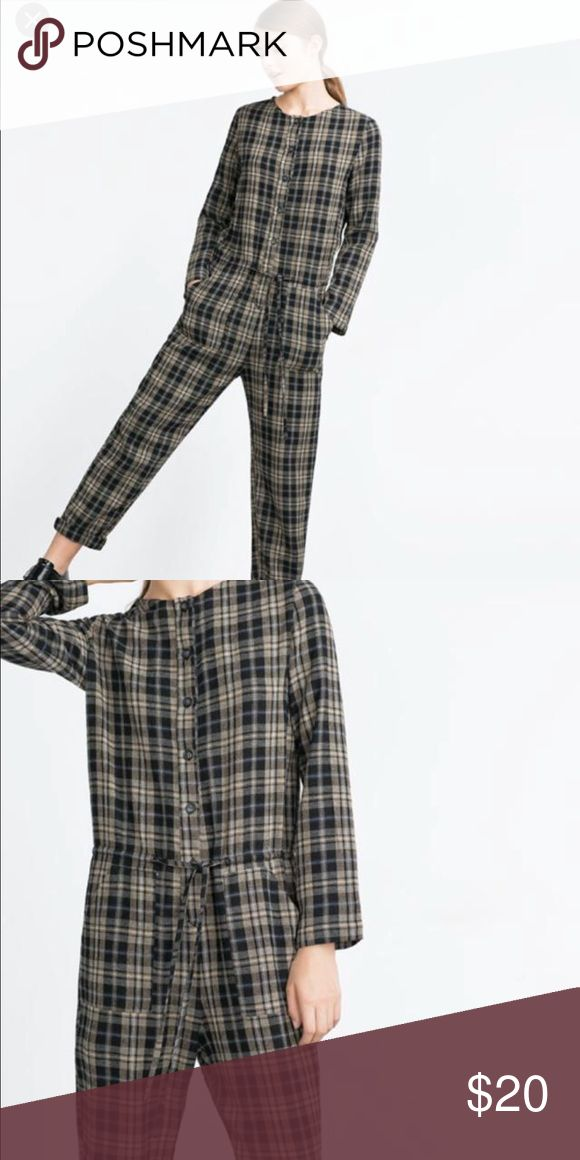 Zara Wool Check Jumpsuit Size small. Worn once. Great condition! Pair this with a floppy camel hat and some black court shoes and you are set. Such an easy outfit! Zara Pants Jumpsuits & Rompers