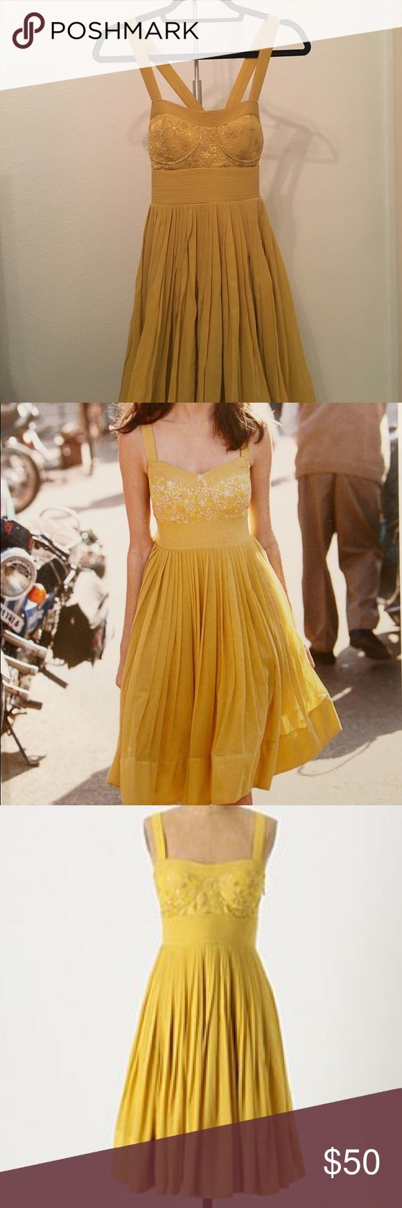 Anthropologie Mustard Colored Dress Beautiful sundress... sadly not my size anymore. 37 inches in length Anthropologie Dresses Midi