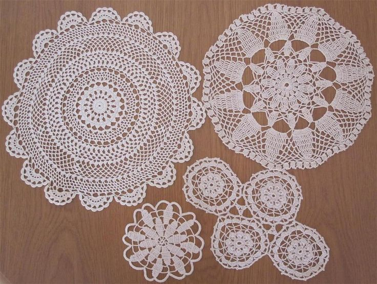 Four Vintage Hand Crochet DOILIES VARIETY PLUS Sizes Range from: 12cms x 32cms Cotton Thread in a Light Tan Colour. Never Used but stored over a long period of time so I have  *Washed  *Starched  *Ironed  to freshen up.