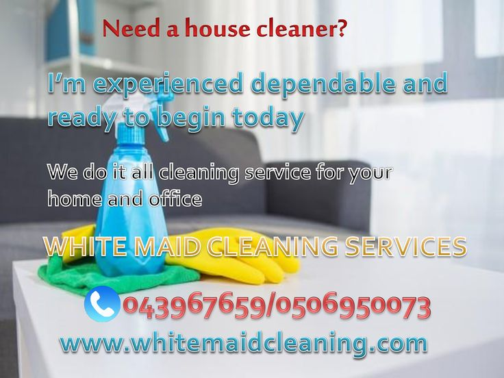 We made cleaning easy for you! We provide part time cleaning and maid services. We got it for you! White maid cleaning services is providing part time maids for residential and non residential cleaning and also part time babysitters. Call us for more information043967659/0506950073 Website: www.whitemaidcleaning.com         Email:whitemaidcleaning@gmail.com