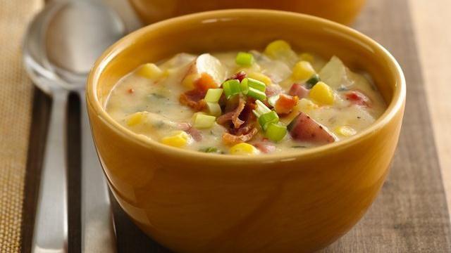 ... potato corn chowder, made with greek yogurt and low fat cheese. More