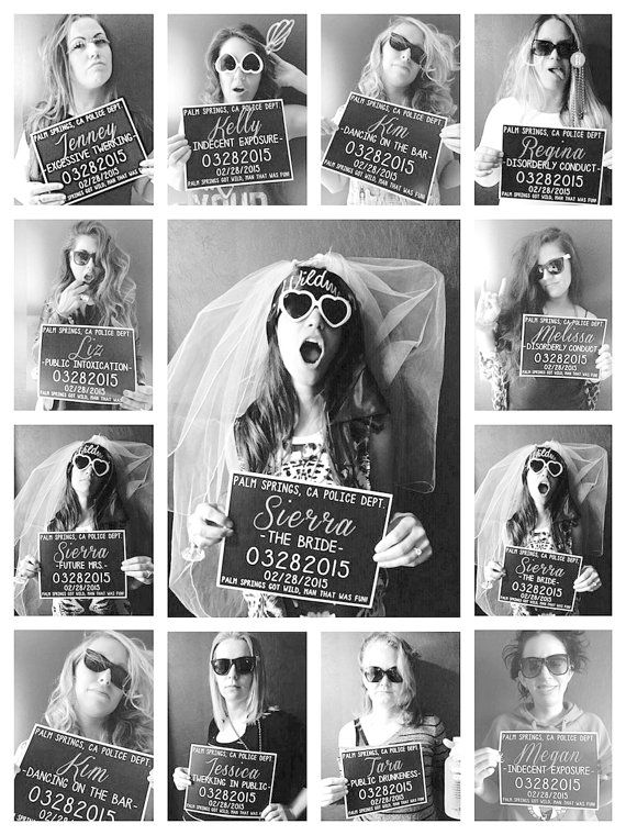 This listing is for customized printable Bachelorette Party Mugshot signs. Perfect for your Bachelorette bash, and an amazing photo prop for all your girls! Your custom Bachelorette Party Mugshot signs are delivered in high resolution .PDF format with printing instructions. These signs are design to be printed on 8.5x11 cardstock. INFO TO INCLUDE AT CHECKOUT: Line 1: Party location Line 2: Attendees first names Line 3: Wedding party titles (if not in the wedding party I suggest Accomplice or…