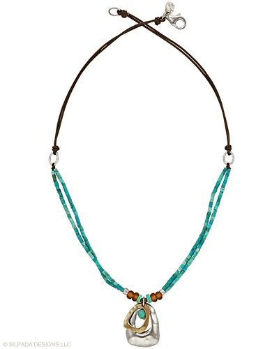 """Color your world with this Sterling Silver, stabilized Turquoise, Brass, Glass and Leather Cord Necklace.  Approximately 16"""".: Shiny Things, Color, Leather Necklaces, Leather Cord, Glass, Crafty Crafterson Jewelry, Designs Jewelry"""