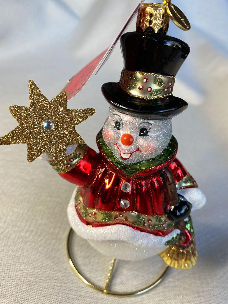 Christopher Radko Glass Star Struck Snowman Ornament