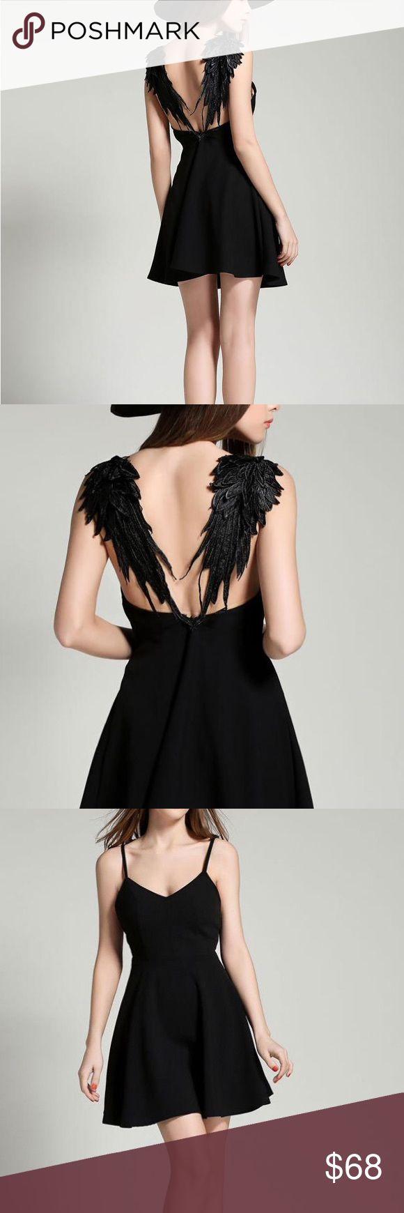 Black Angel Wings Mini Dress Goth Chic Super chic and unique dress. Dresses Mini