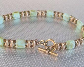 green tila bracelet gold bead bracelet superduo beadwork bracelet