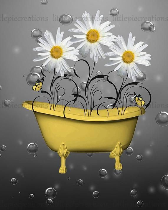 Yellow Bathroom Powder Room Wall Pictures Daisy Flowers Butterflies Bubbles Bathtub Yellow Home Decor Matted Picture Grey Wall Art Yellow Home Decor Yellow Grey Bathroom Yellow wall decor for bathroom