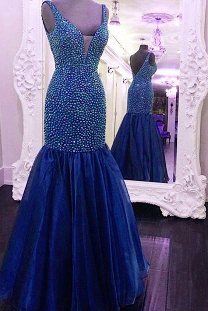 V-Neck Beading Mermaid Prom Dresses,Long Prom Dresses,Cheap Prom Dresses, Evening Dress Prom Gowns, Formal Women Dress,Prom Dress,C260