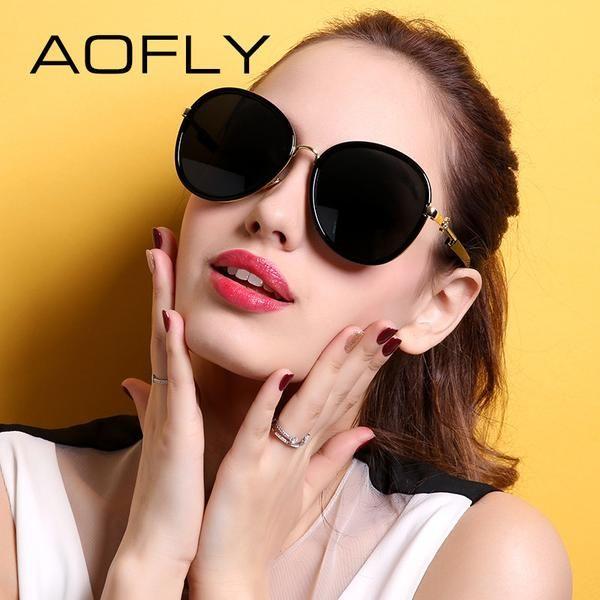 FuzWeb:AOFLY Polarized Sunglasses Original Women Big Frame Shades New Summer Style Gafas de sol mujer AF7932