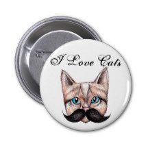 I Love Cats 6 Cm Round Badge