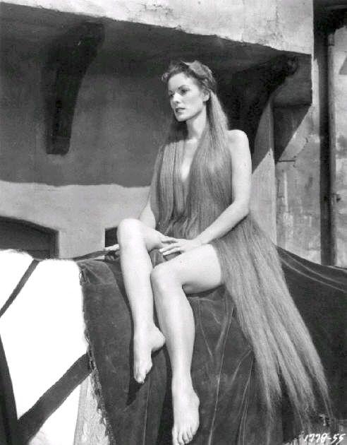 """Maureen O'Hara as Lady Godiva in """"Lady Godiva of Coventry"""" (1955)."""