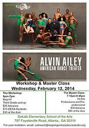 Master Class with Alvin Ailey Professional Dancers February 12th, 2014 A Must Take!!!