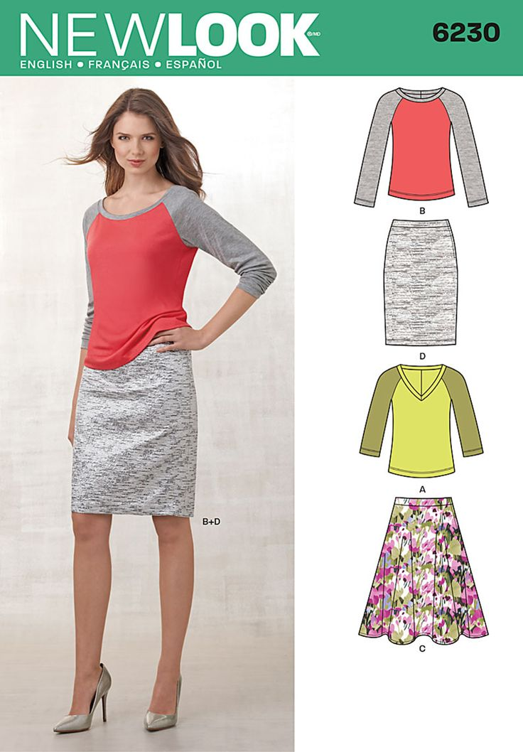 """6230Misses' Knit Top and Full or Pencil Skirt Knit baseball shirt has feminine fit, can be made with banded round or V-neck & 3/4 or long sleeves. Skirt worn 1"""" below waist has side zipper; flared skirt is knee length, pencil skirt just below knee length."""