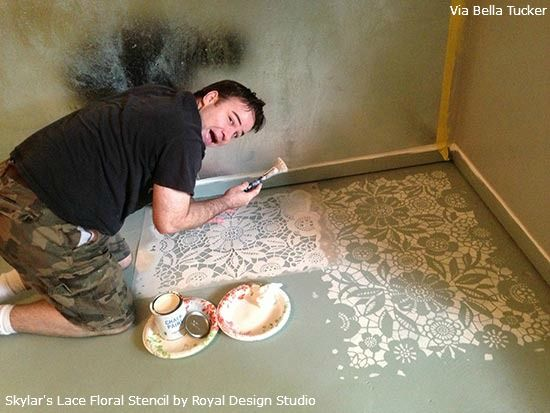 Stenciling a Concrete Floor with Royal Design Studio Stencils and Chalk Paint® decorative paint by Annie Sloan