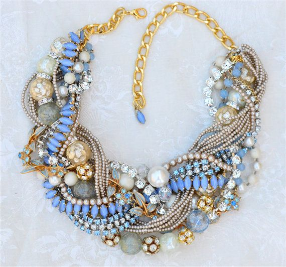 BACK IN STOCK Something Blue Champagne Pearl Necklace, Vintage Wedding Jewelry, Bridal Statement Necklace, Twisted Rhinestone Necklace, Blue Statement