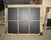 6 Pane Window Primitive Vintage Country Chalkboard Tan With Black Stars