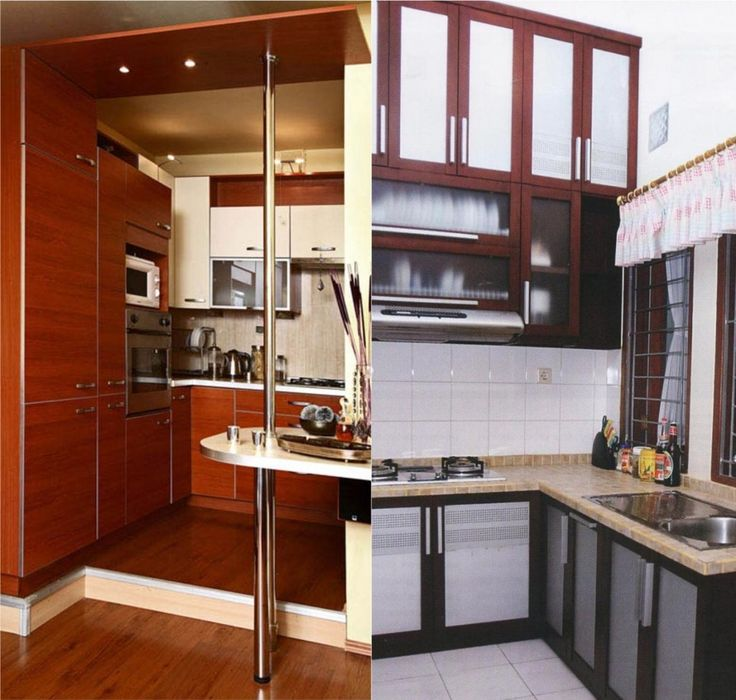 Exquisite Design For Small Kitchen Ideas Using Stainless Steel Pole In Kitchen Including Square White Tile Kitchen Backsplash And Brown Wooden Kitchen Cabinet On The Brown Wooden Floor Also Beige Marble Pedestal On The Kitchen Table As Well As Kitchen Backsplash Ideas Plus Small Kitchen, Marvellous Design For Very Small Kitchen Ideas: Furniture, Kitchen