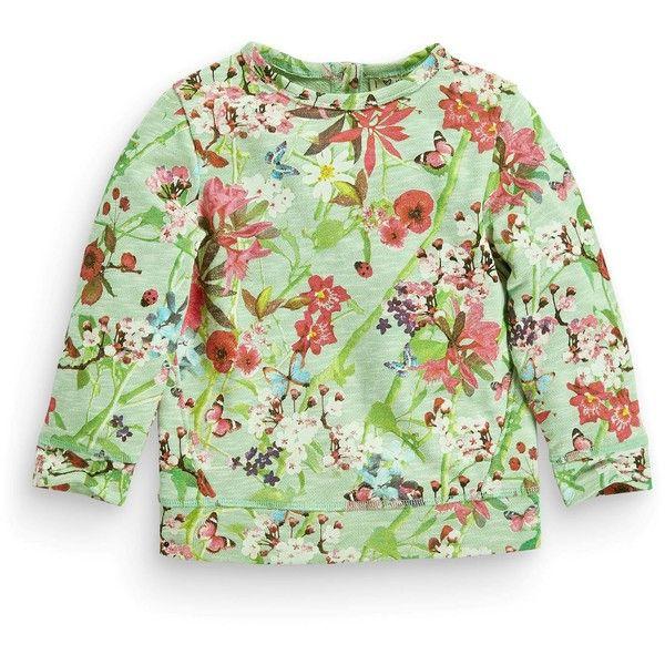 Купить Мятный свитер с вырезом под горло и цветочным рисунком (3 мес.-6 лет) Купить онлайн прямо сейчас на Next: Украина found on Polyvore
