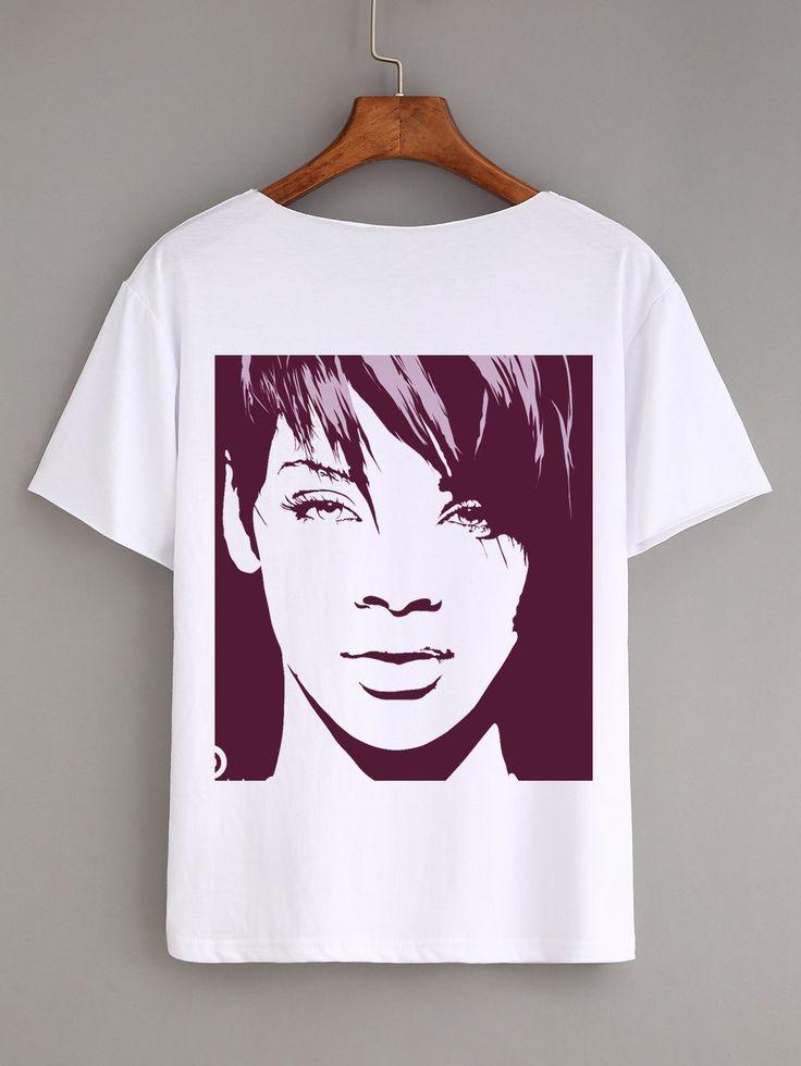 Short Sleeve Rihanna Women White Fashion HIP HOP Star Casual T Shirt