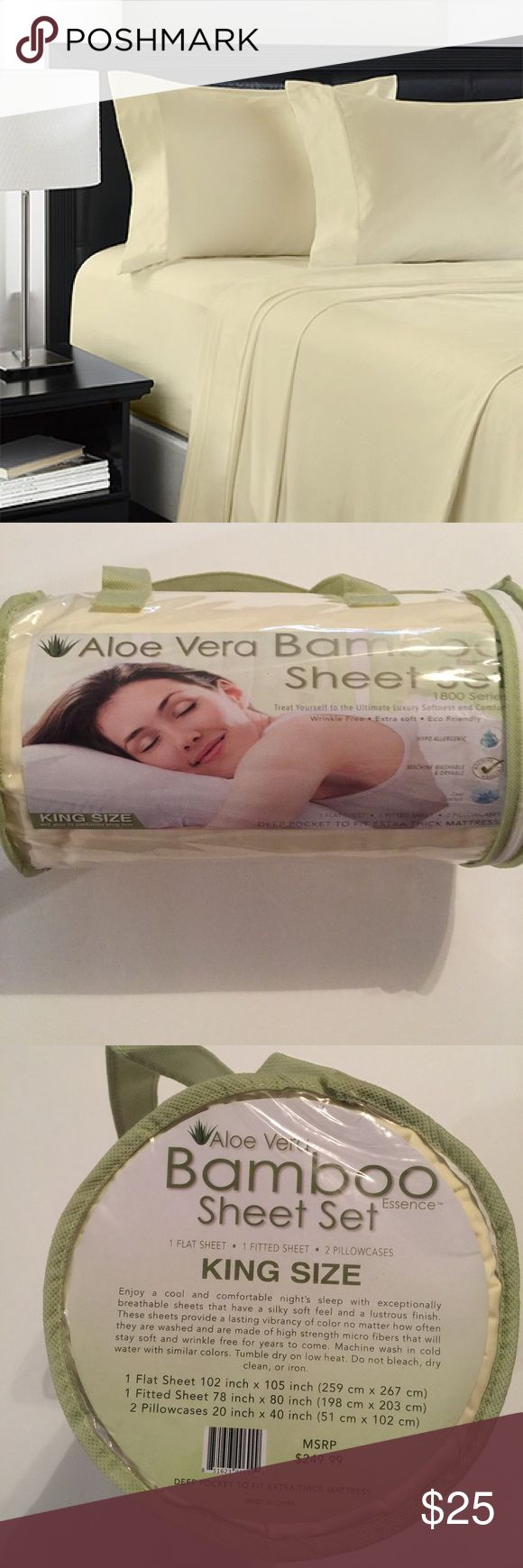 Aloe Vera bamboo sheet set king size Brand new 1800 Other