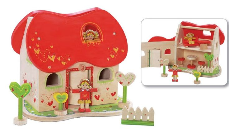 EverEarth Fairy Dolls House This charming, detailed doll house inspires any child's creativity as they play-out the stories they imagine. Includes two wooden dolls, trees, welcome sign, table and chairs, sofa, fence and front opening facia with lift-off roof for easy access.  Outer Dimensions L: 45.50cm W: 29.00cm H: 51.00cm Age: 3+
