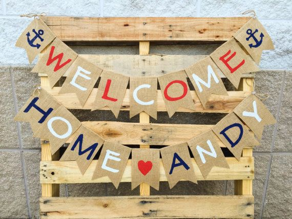 This Patriotic Burlap Banner Is The Perfect Touch Of Usa Pride Its Also A Great Welcome Home