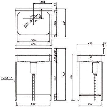EKP1-600 ポータブル1槽ステンレスシンク(SUS430) 東製作所 40197787