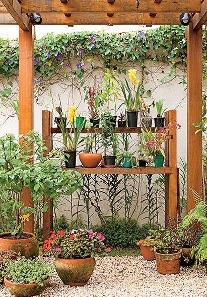 """Embaixo do pergolado, a moradora instalou uma estante de cumaru para guardar as orquídeas que ganhava de presente. """"Todo mundo que visitava a casa, me trazia uma variedade. Quando me dei conta, já tinha uma coleção"""", conta"""