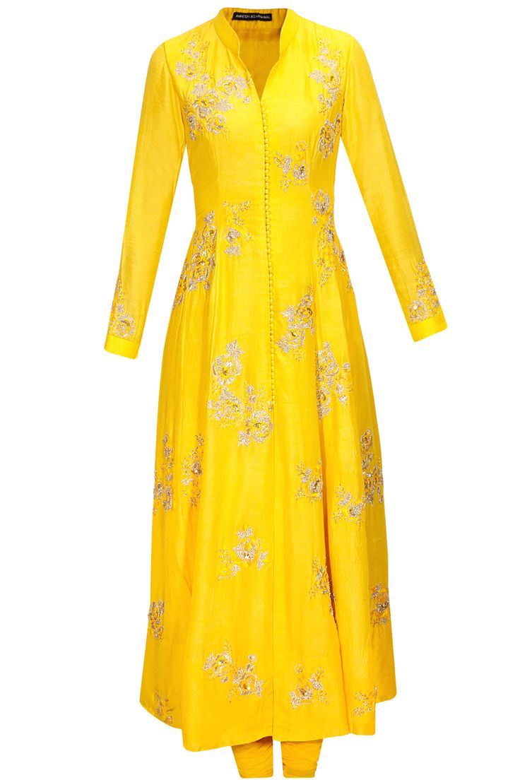 Lemon yellow floral embroidered kurta set available only at Pernia's Pop-Up Shop.