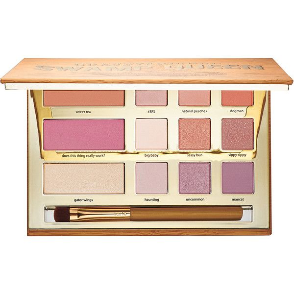tarte Limited Edition Swamp Queen Eye & Cheek Palette With Brush ($54) ❤ liked on Polyvore featuring beauty products, makeup, tarte makeup, palette makeup, tarte cosmetics and tarte