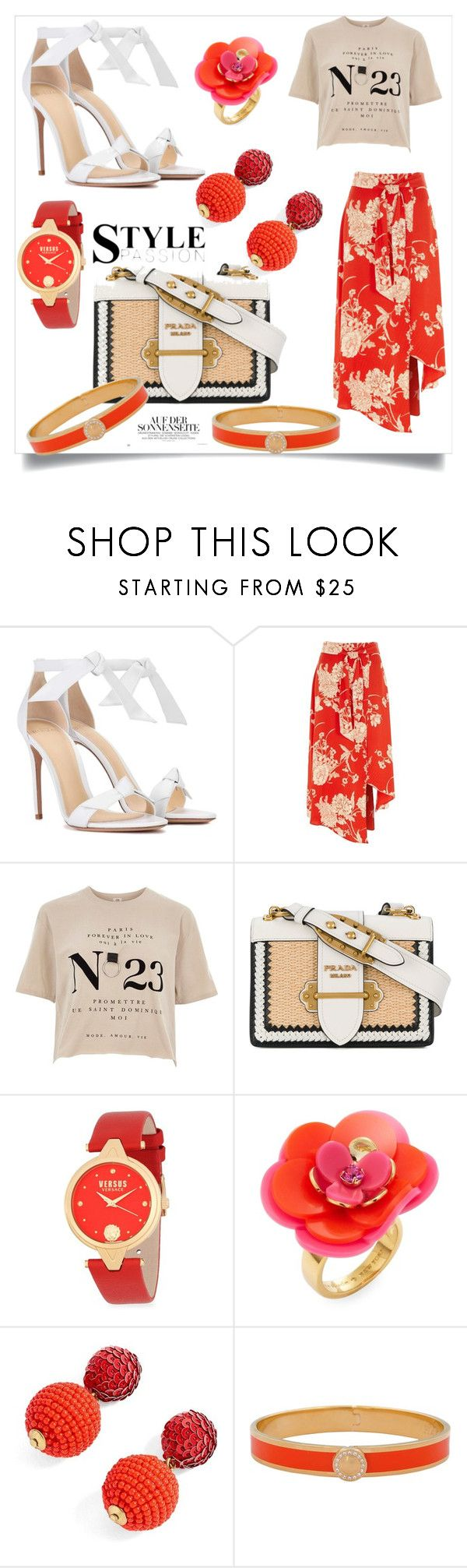 """passion orange"" by harrietta103 on Polyvore featuring Alexandre Birman, River Island, Prada, Versus, Kate Spade, J.Crew, Halcyon Days and StreetStyle"