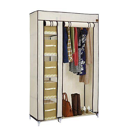 VonHaus Double Canvas Effect Wardrobe Clothes Cupboard Ha…