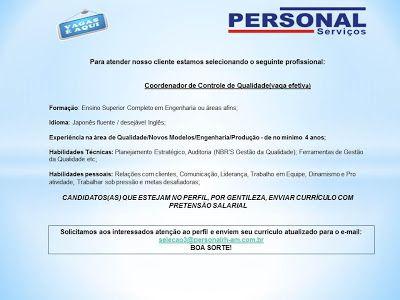 RH Manaus - Agência de Divulgação: COORDENADOR DE CONTROLE DE QUALIDADE