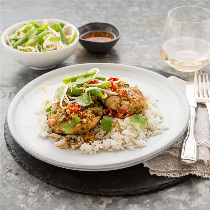 Thai Green Curry Fish Cakes with Coconut Jasmine Rice